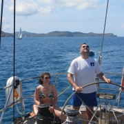 Couple sailing in the BVI onboard Pacific Wave