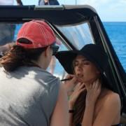 Model gets makeup touchups