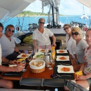 Friends charter lunch onboard Green Island Antigua