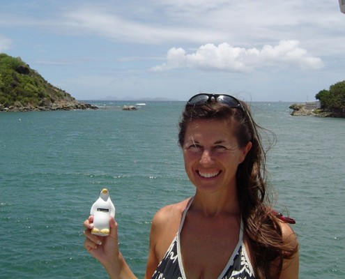 Lynn Griffiths with the Groupama Penguin Caribbean