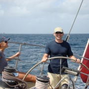 Couple onboard Pacific Wave in the Grenadines