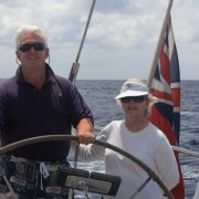 Couple sailing off Guadeloupe onboard Pacific Wave