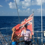 Couple onboard Pacific Wave in the BVI