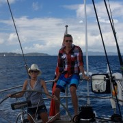 Honeymoon couple onboard Pacific Wave sailing down the Sir Francis Drake Channel BVI