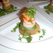 Shrimp stack with local Avocado Tomato & Rocket