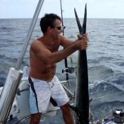 Deep sea fishing off Pacific Wave with giant Mahi Mahi