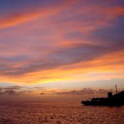Sunset from Pacific Wave anchored in Bequia the Grenadines