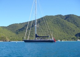 SY Pacific Wave moored in Maho Bay St John