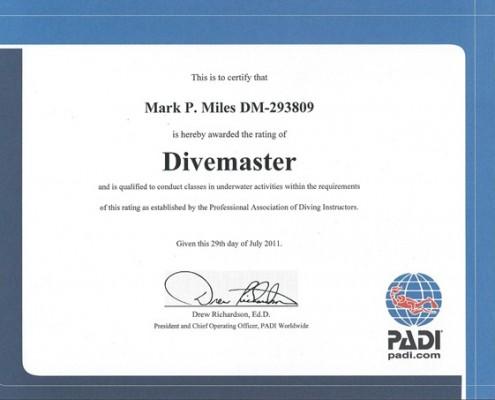 Mark Miles Padi Divemaster
