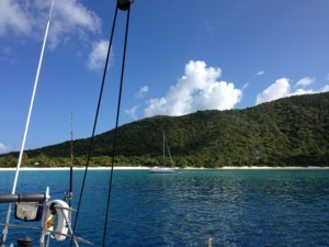 Guana Island BVI west facing anchorage taken from the stern of Pacific Wave