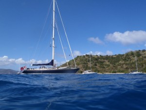 SY Pacific Wave anchored in Great Habour BVI