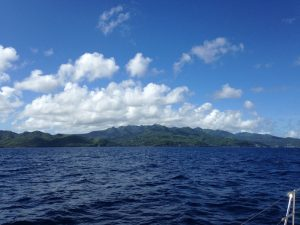 Sailing down the Caribbean island of Grenada onboard Pacific Wave