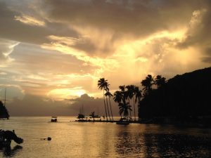 St Lucia sunset from Pacific Wave in Marigot Bay