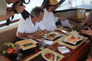 Judges sampling the cuisine onboard Pacific Wave at the BVI Yacht Show