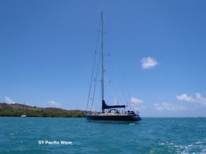 SY Pacific Wave anchored in the Virgin Islands