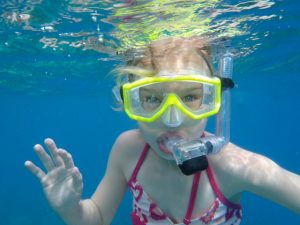 Kids love snorkeling from Pacific Wave