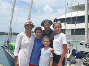 Chantal, Gary, Bianca, Carter & Dempsey on a BVI Crewed Yacht Charter onboard SY Pacific Wave