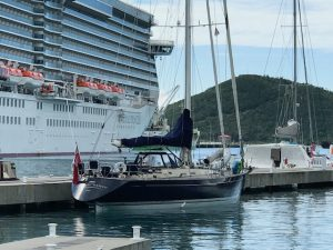 Pacific Wave moored YHG Marina St Thomas ready to commence on a BVI Crewed Yacht Charter