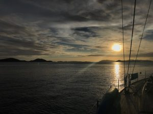 Sunset from Pacific Wave on a BVI Crewed Yacht Charter