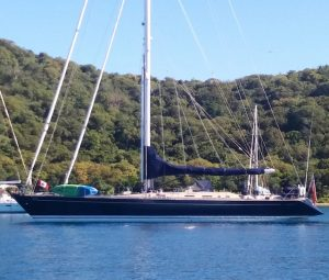 SY Pacific Wave anchored off Norman Island BVI