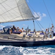 SY Pacific Wave sailing down the Sir Francis Drake Channel British Virgin Islands
