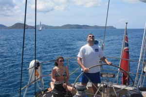 Couple sailing down the Sir Francis Drake Channel BVI