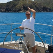 Mark at the helm