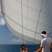 Adjusting the lighting on the yacht photoshoot