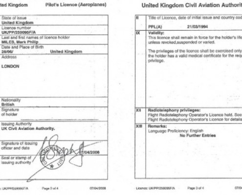 Mark Miles Pilots License