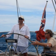 Guest sailing in the BVI onboard Pacific Wave