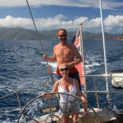 Couple onboard Pacific Wave in the British Virgin Islands
