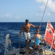 Couple charter sailing off the BVI