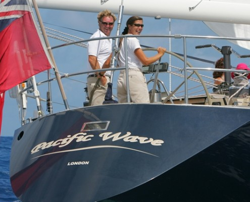 Captain Lynn Griffiths at the helm Pacific Wave