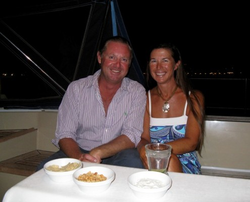 Lynn Griffiths and Mark Miles onboard Pacific Wave