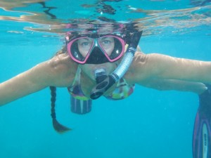 Captain Lynn snorkelling in the British Virgin Islands