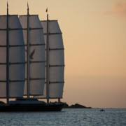 Megayacht Maltese Falcon sunset sailing BVI