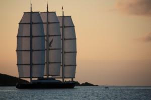 Megayacht Maltese Falcon sunset sailing BVI