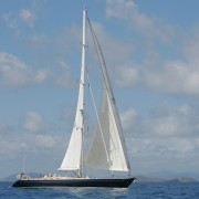 SY Pacific Wave sailing off Virgin Gorda BVI