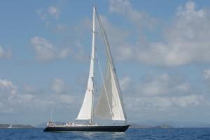 SY Pacific Wave sailing off Virgin Gorda BVI