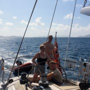 Honeymoon couple sailing in the BVI onboard Pacific Wave