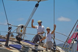 Crew sailing SY Pacific Wave