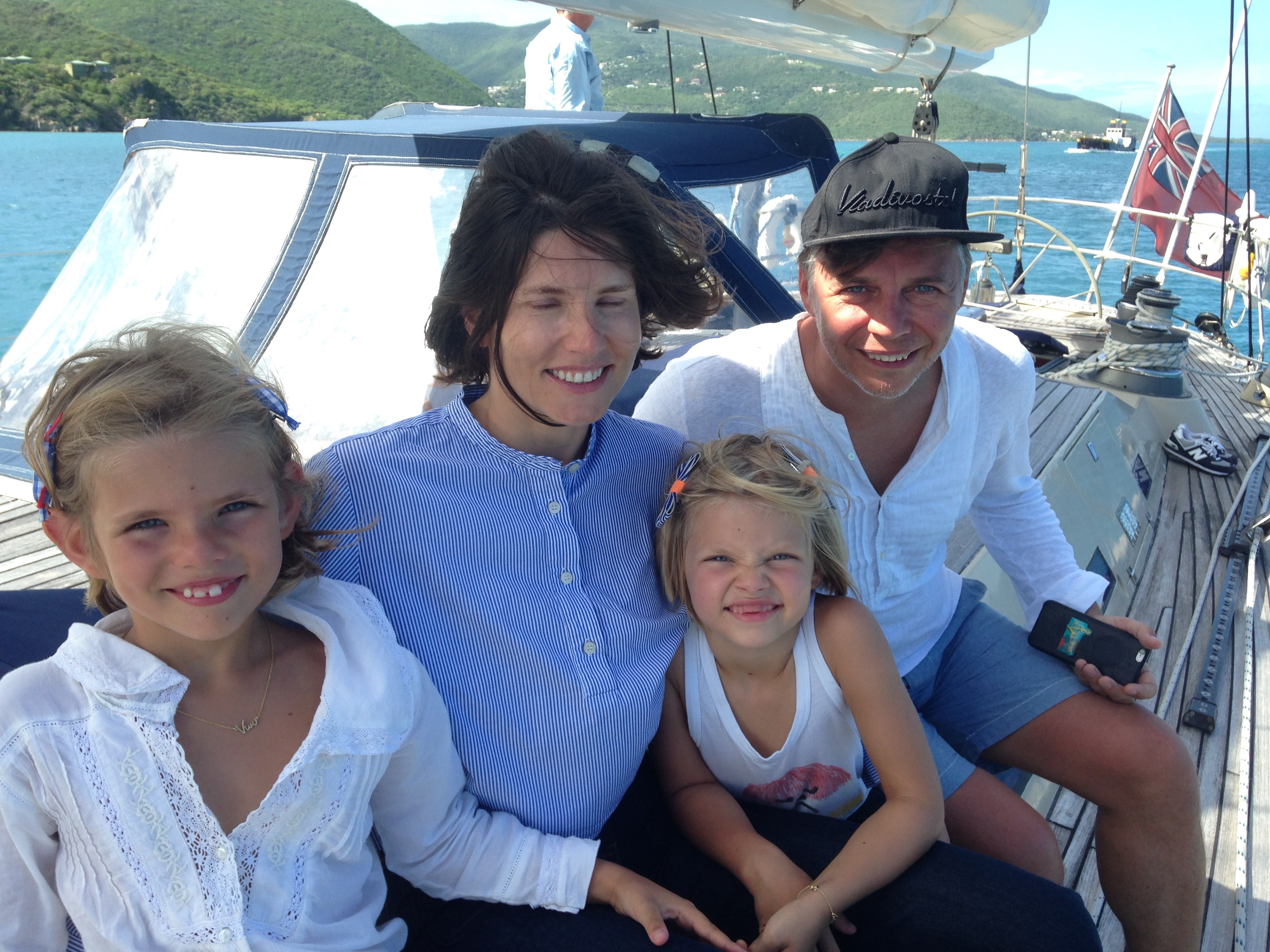 Ilya, Anna, Vivi, Letitia Lagutenko onboard Pacific Wave on a BVI Crewed Yacht Charter
