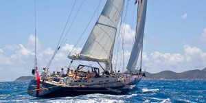 Pacific Wave sailing up the Sir Francis Drake Channel BVI