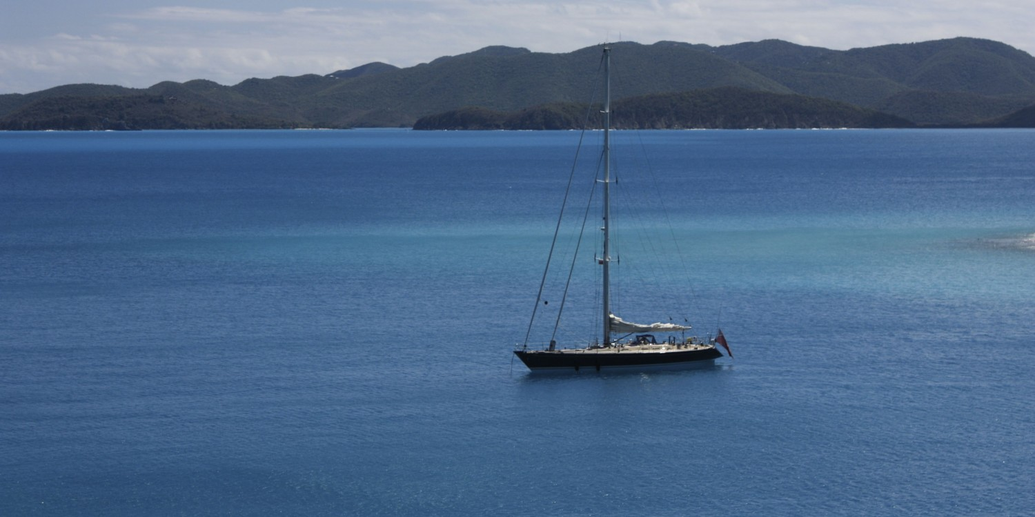 SY Pacific Wave anchored off JVD with St John USVI in the distance
