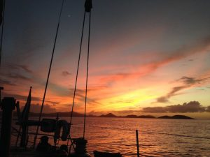 Stunning Caribbean Sunset from SY Pacific Wave on a BVI Crewed Yacht Charter