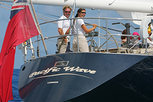 Captain Lynn Griffiths and Mark Miles crew onboard Pacific Wave