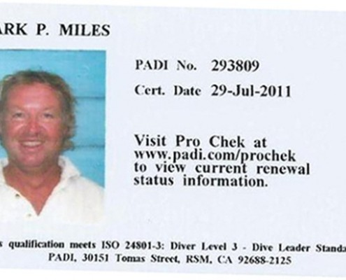Mark Miles Padi Dive Master Card