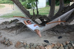 Mark a sleep on a hammock