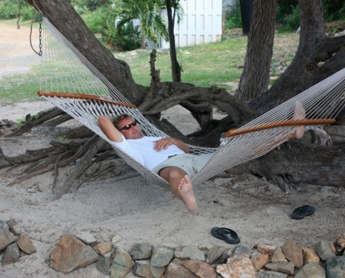 Mark a sleep on a hammock