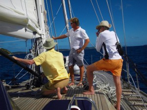 Explaining about sailing to our Charter Guests onboard Pacific Wave